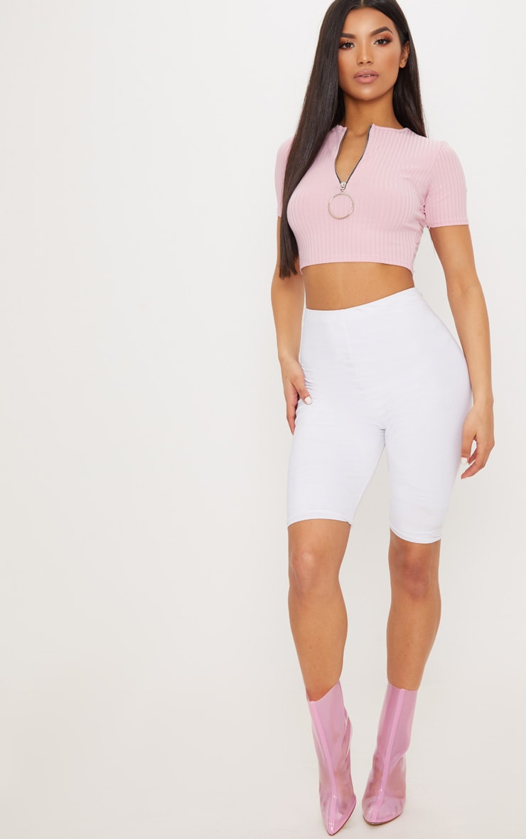 Baby Pink Rib Ring Pull Crop Top 4