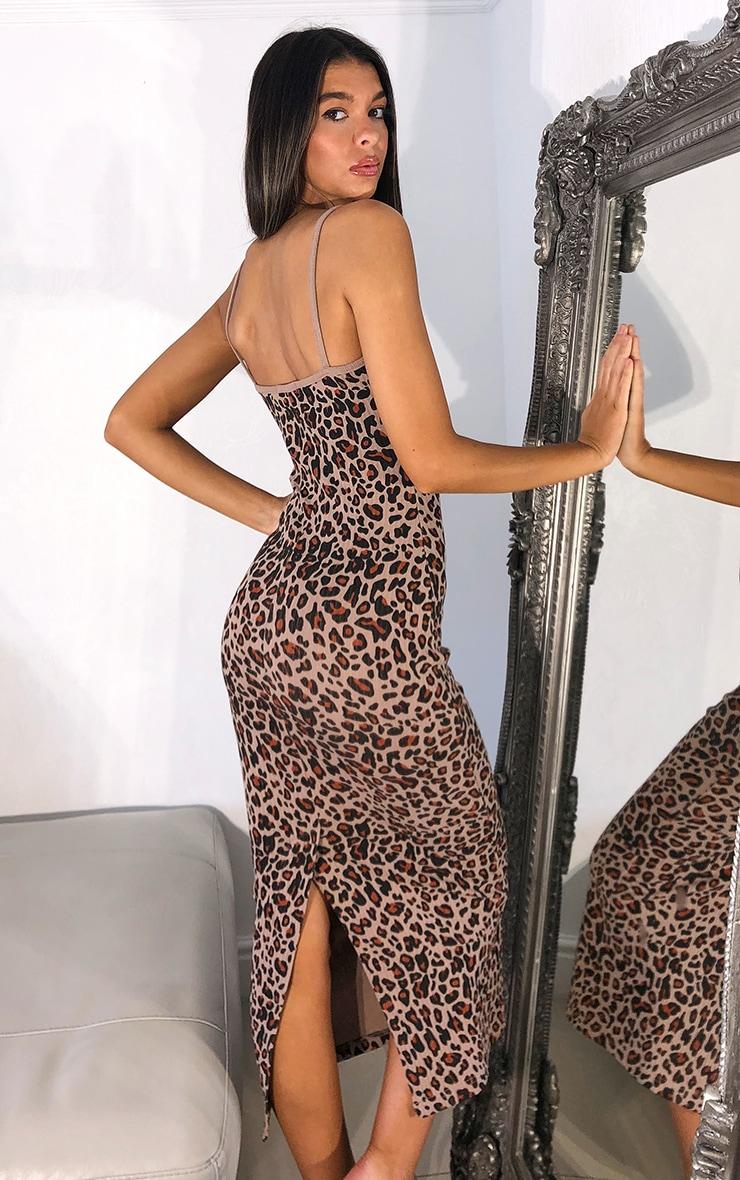 Brown Leopard Print Strappy Thick Rib Split Midaxi Dress 2