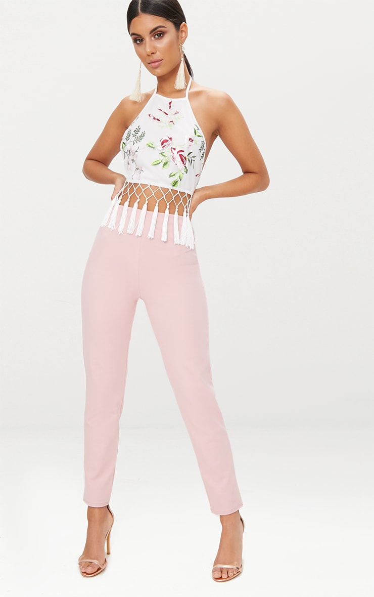 White Floral Embroidered Tassel Crop Top 4
