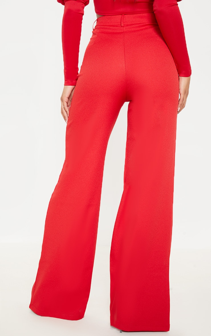 Red Wide Leg Crepe Trousers 4