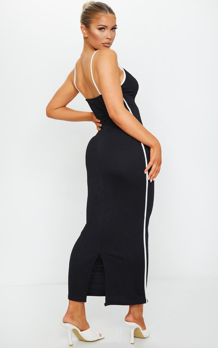 Black Contrast Trim Detail V Neck Strappy Midaxi Dress 2