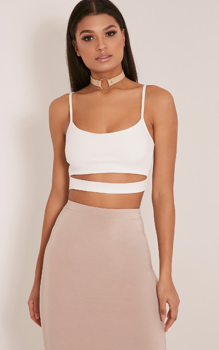 Alexia Cream Cut Out Crop Top 1