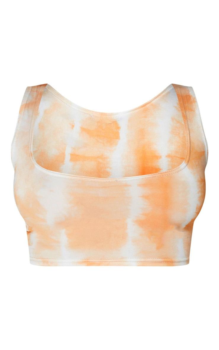Orange Tie Dye Print Slinky Square Neck Sleeveless Crop Top 6