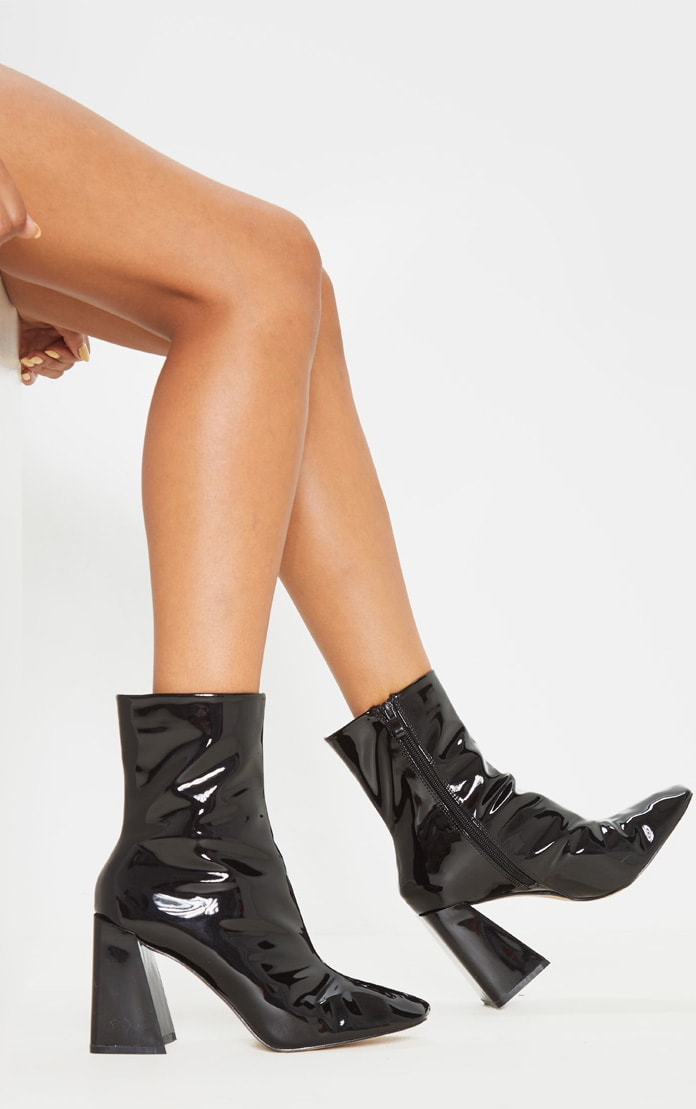 Black Square Toe Flared Block Heel Ankle Boot 3