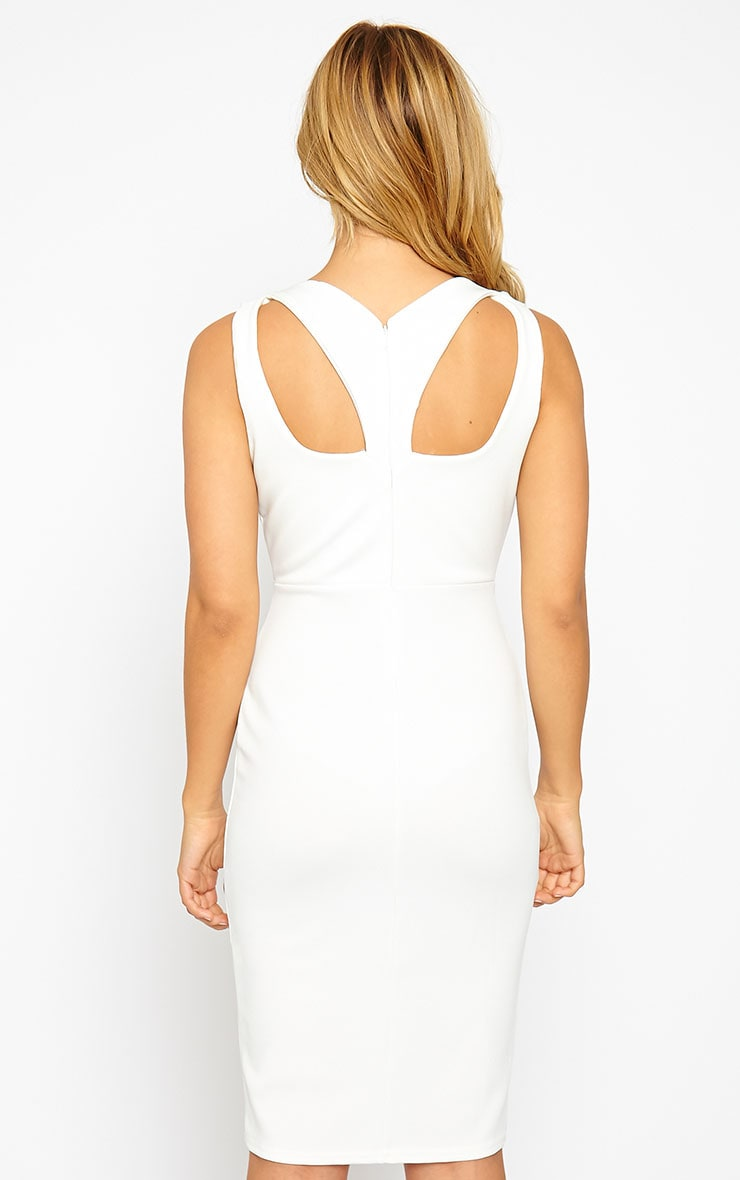 Gracen Cream Cross Front & Back Midi Dress 2