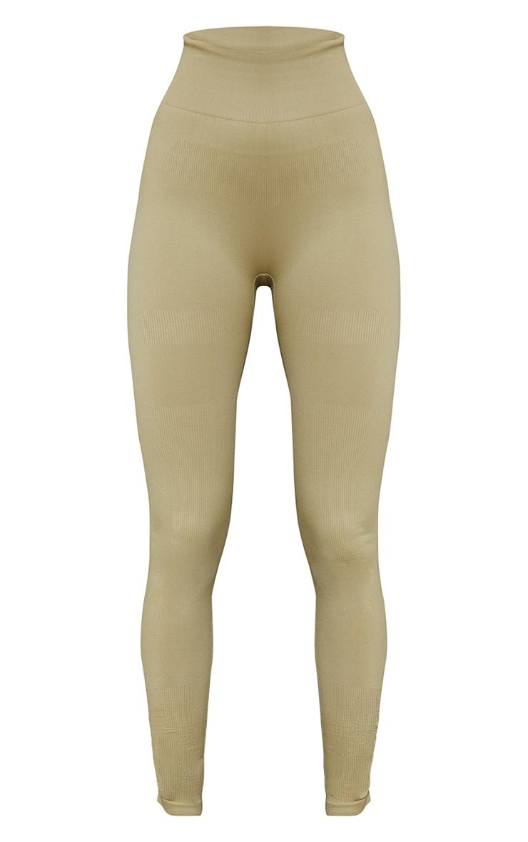 Green Rib Detail Seamless Gym Leggings 5