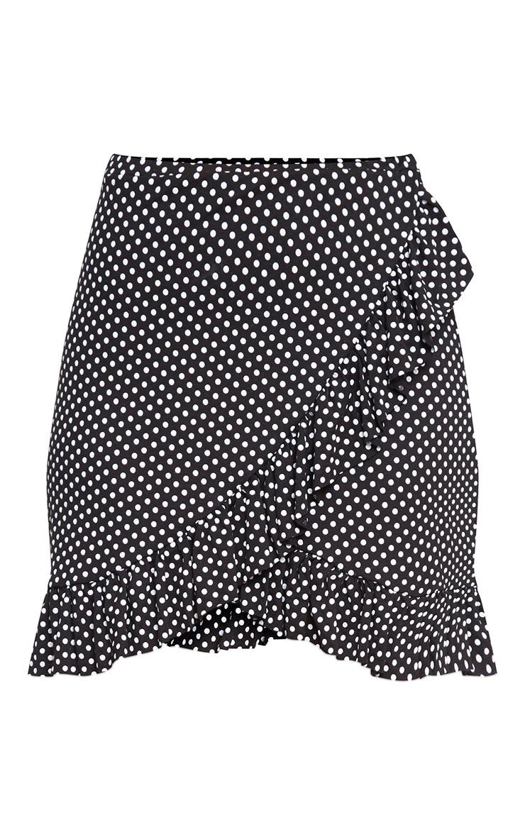 Black Polka Dot Frill Wrap Mini Skirt 3