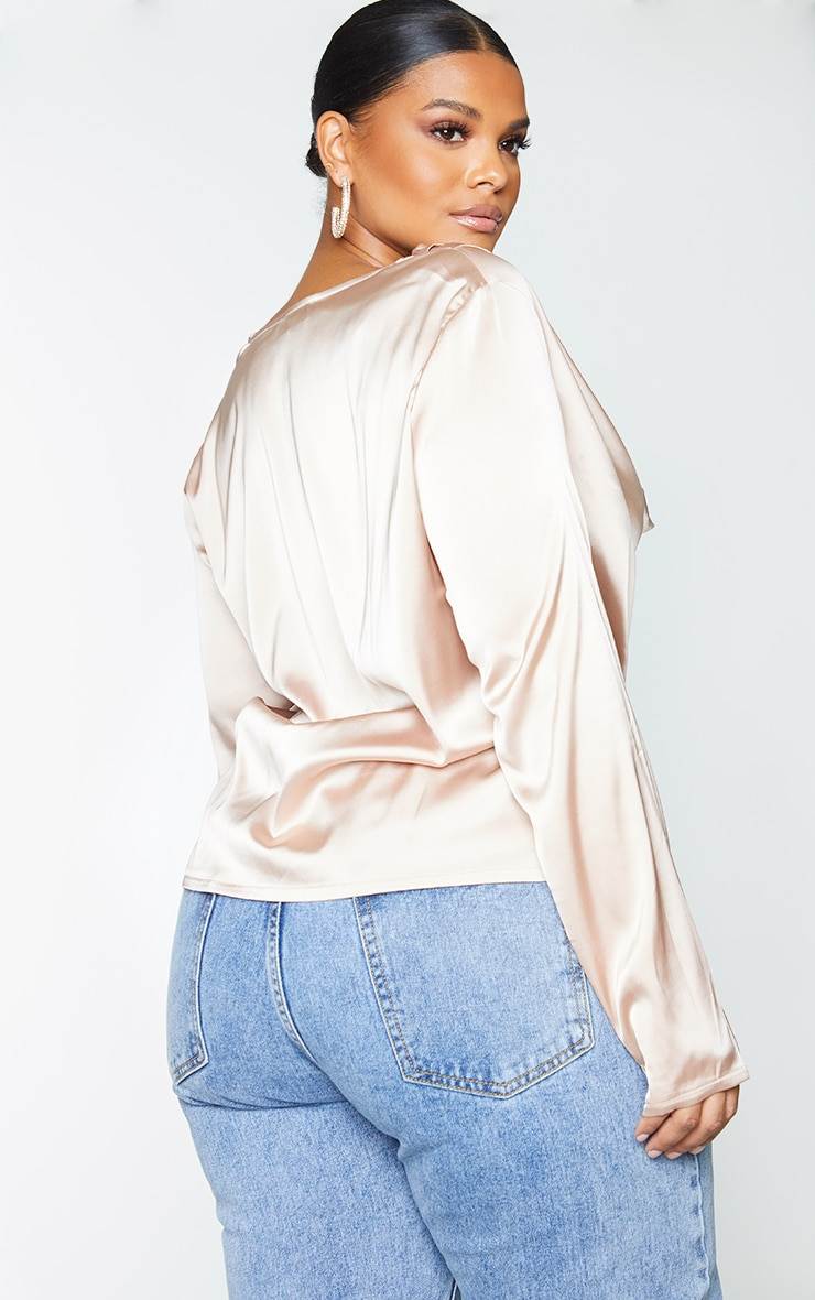 Plus Champagne Satin Cowl Long Sleeve Top 2