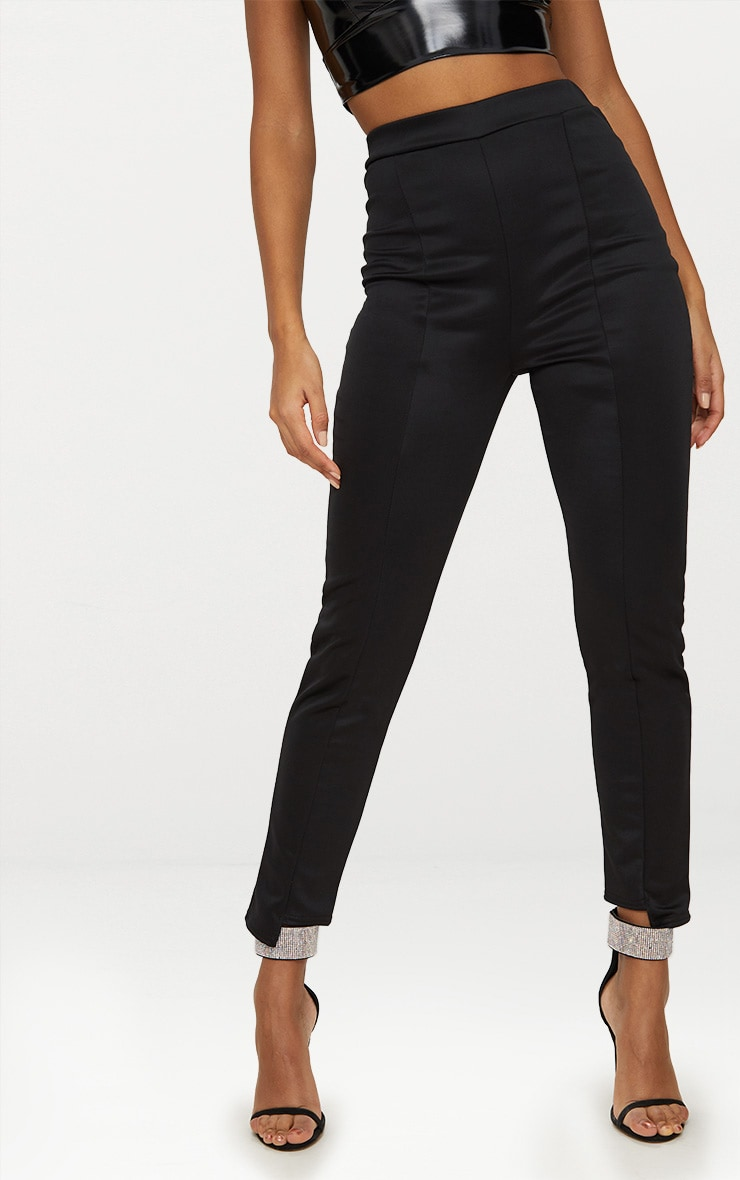 Black Scuba Step Hem Skinny Trousers 2
