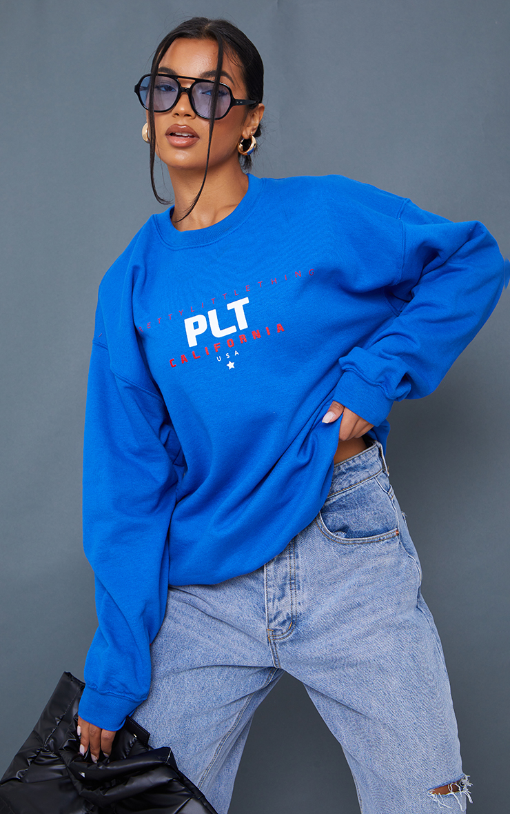 PRETTYLITTLETHING Cobalt Sport Print Sweatshirt 1