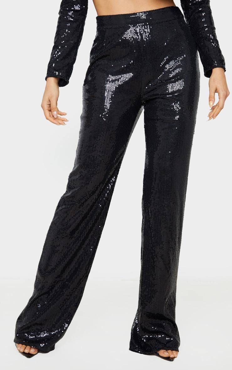 Tall Black Sequin Wide Leg Trouser 2