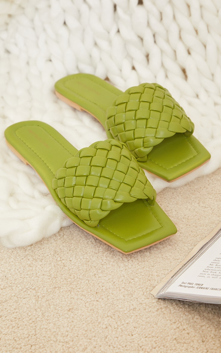 Sage Green Real Leather Square Toe Chunky Basket Weave Mule Sandals  4