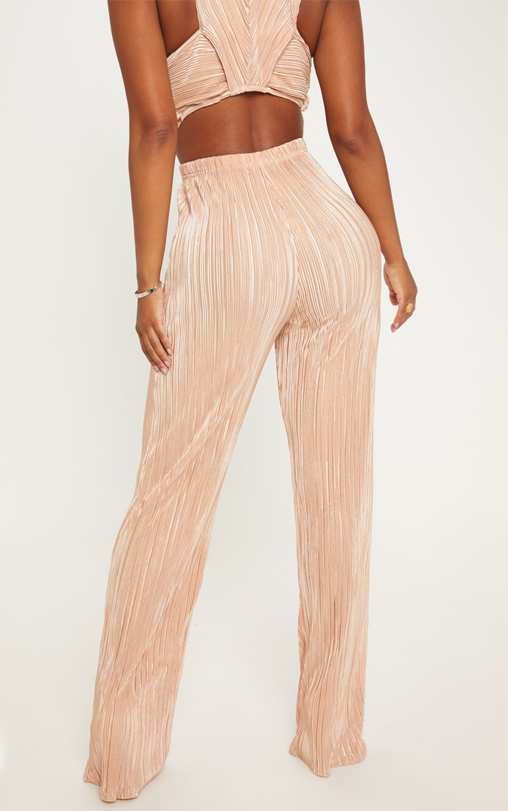 Shape Gold Pleated Metallic Wide Leg Trouser 4