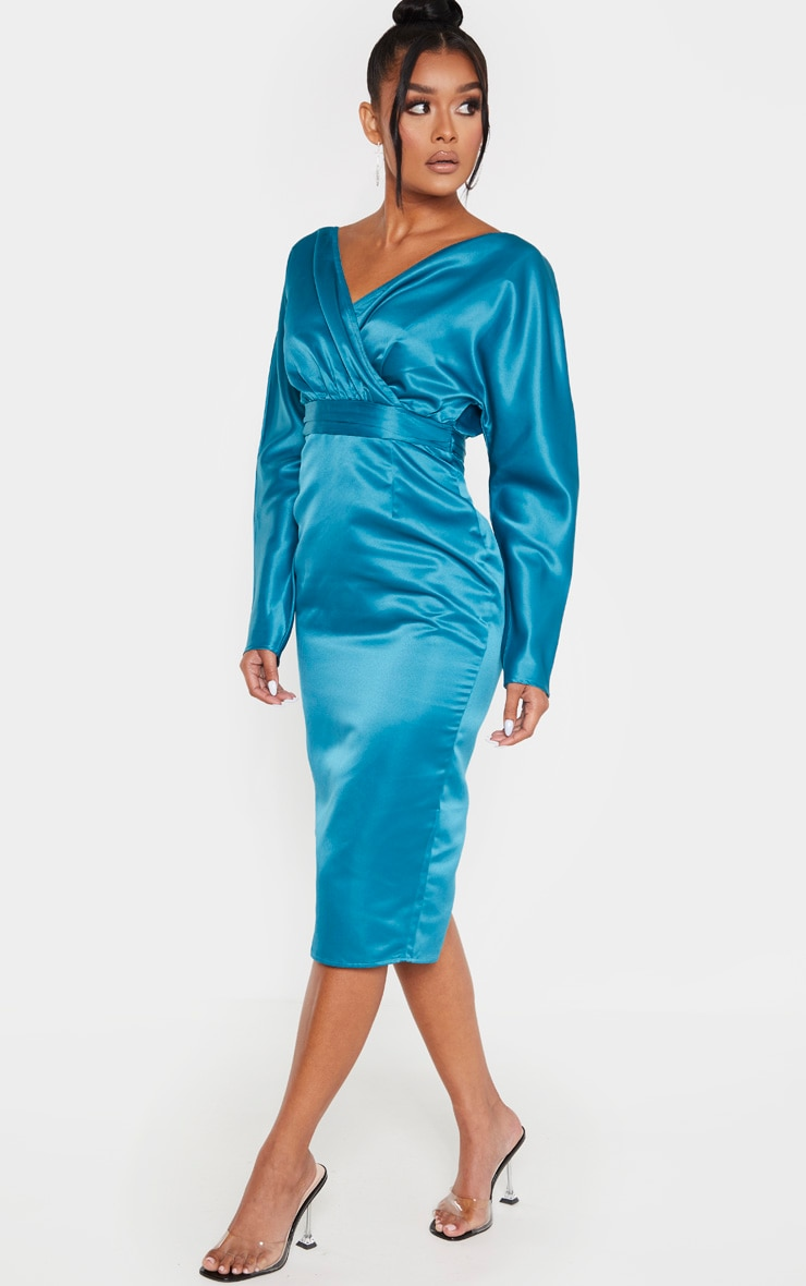 Petrol Blue Bonded Satin Bardot Puff Sleeve Midi Dress 4