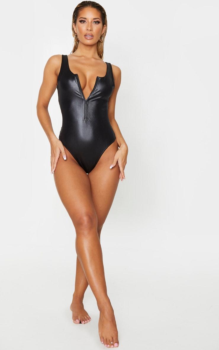 Black Wet Look Zip Up Swimsuit 3