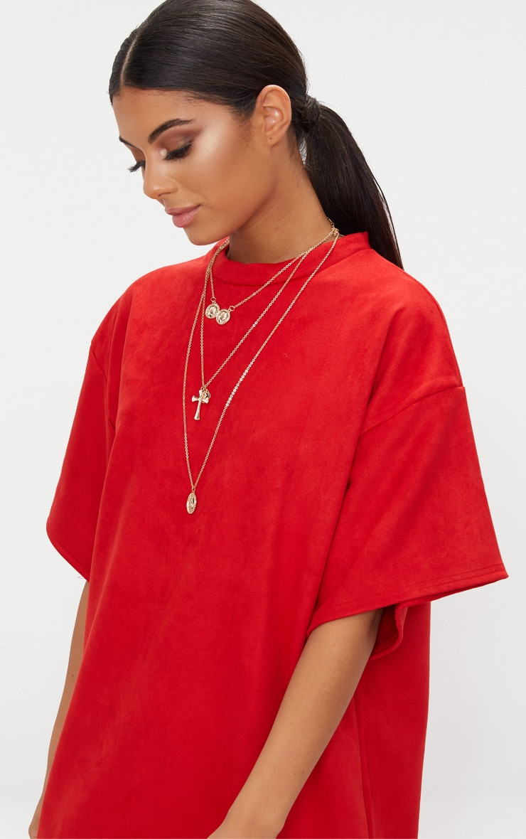 Red Faux Suede Oversized T Shirt Dress 5