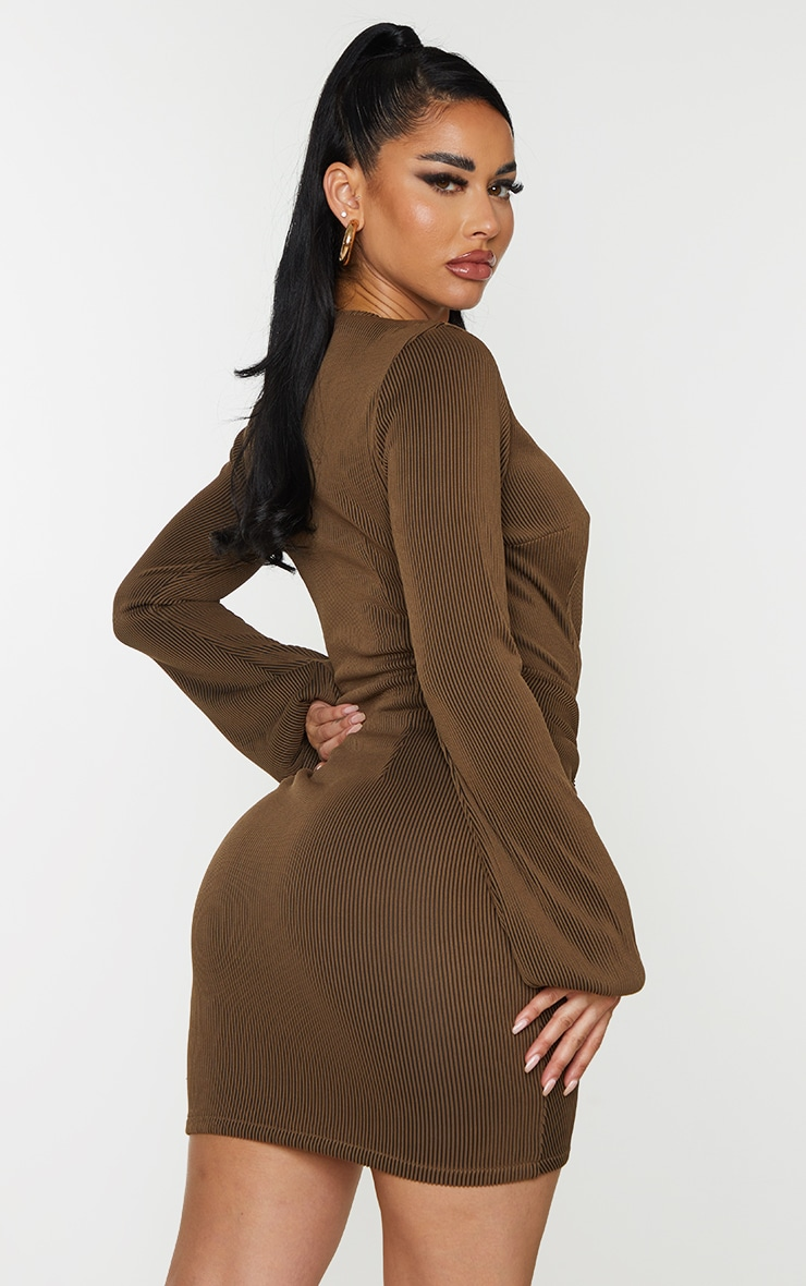 Shape Chocolate Brown Rib Plunge Ruched Detail Bodycon Dress 2