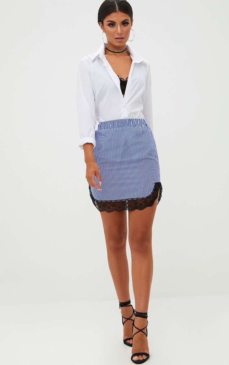 Blue Pinstripe Lace Trim Mini Skirt 5