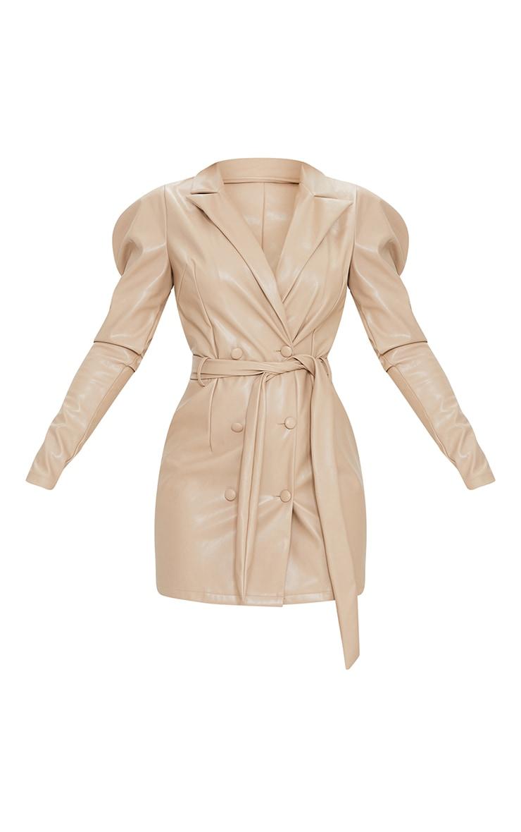 Taupe PU Tie Waist Cut Out Back Blazer Dress 5