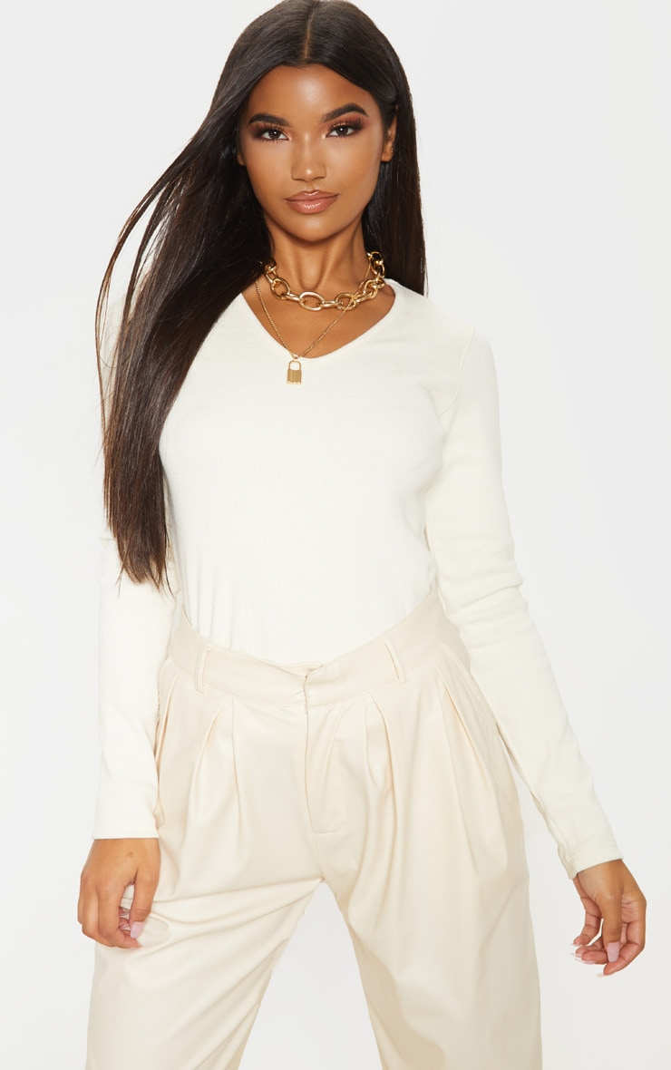 Sand Structured Rib V Neck Top 1