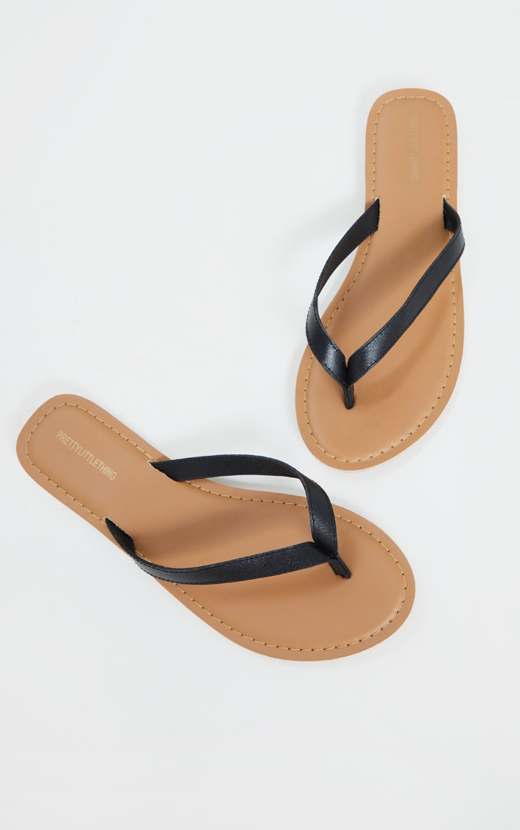 Black Real Leather Contrast Sole Toe Thong Sandals 4