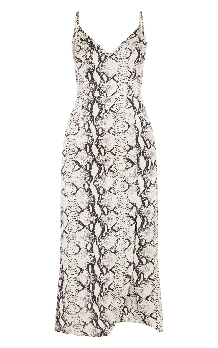 Grey Snake Print Satin Midi Slip Dress 3