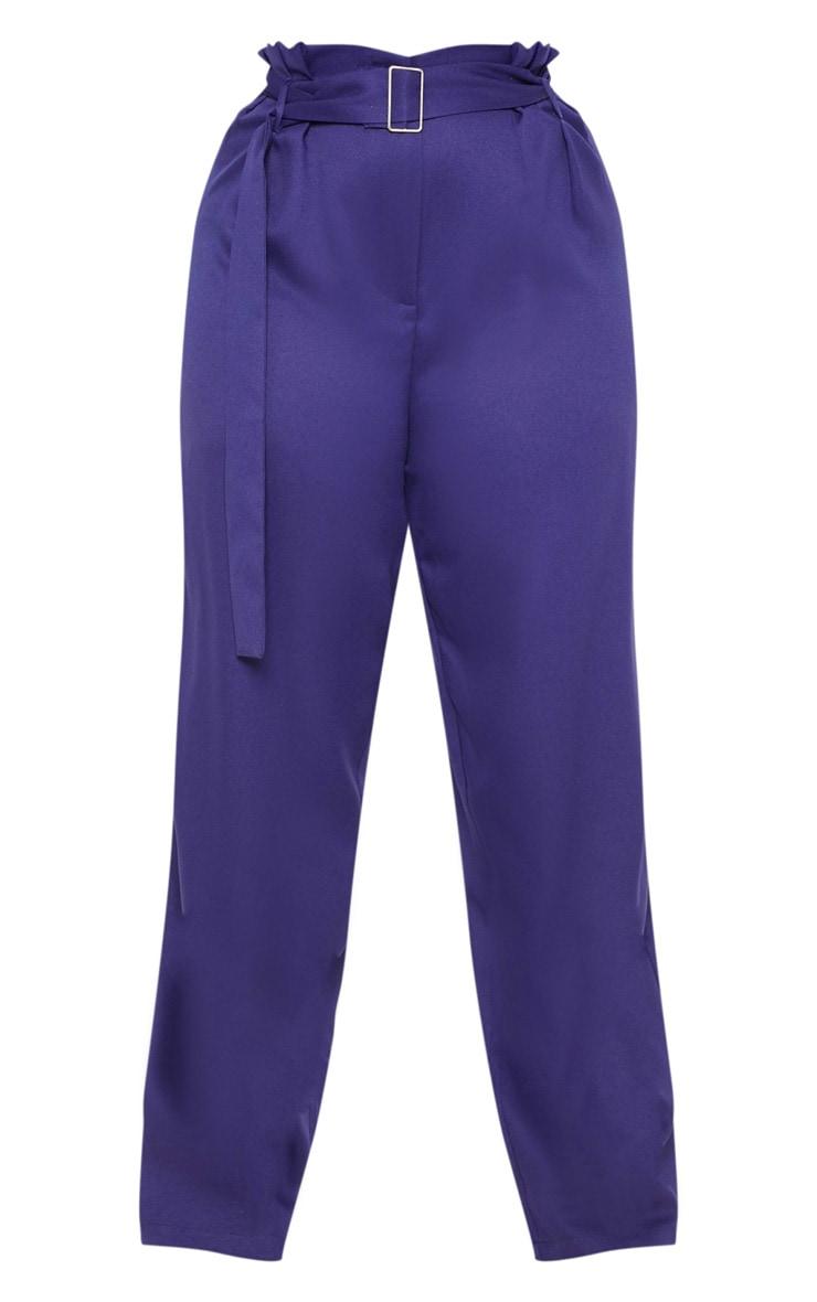 Plus Navy Paper Bag Pleated Wide Leg Trouser 3