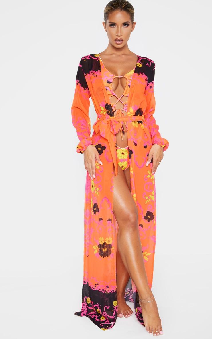 Kimono plissé imprimé baroque rose floral à lien 1