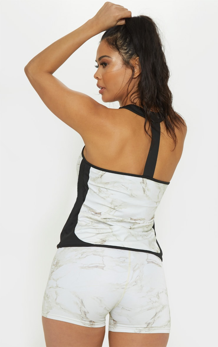 Marble Backless Gym Vest Top 1