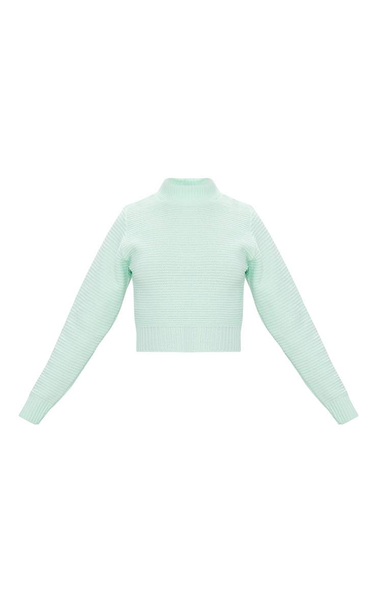 Mint Ribbed Cropped Knitted Jumper 3