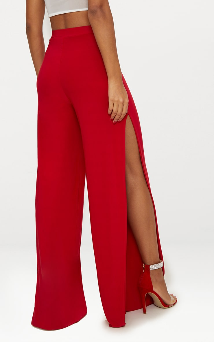 Red Split Leg Slinky Trousers 4