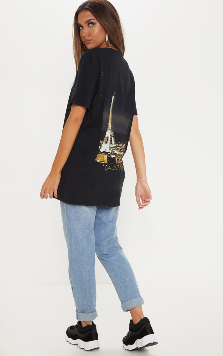 Black Paris Print Oversized T shirt 4