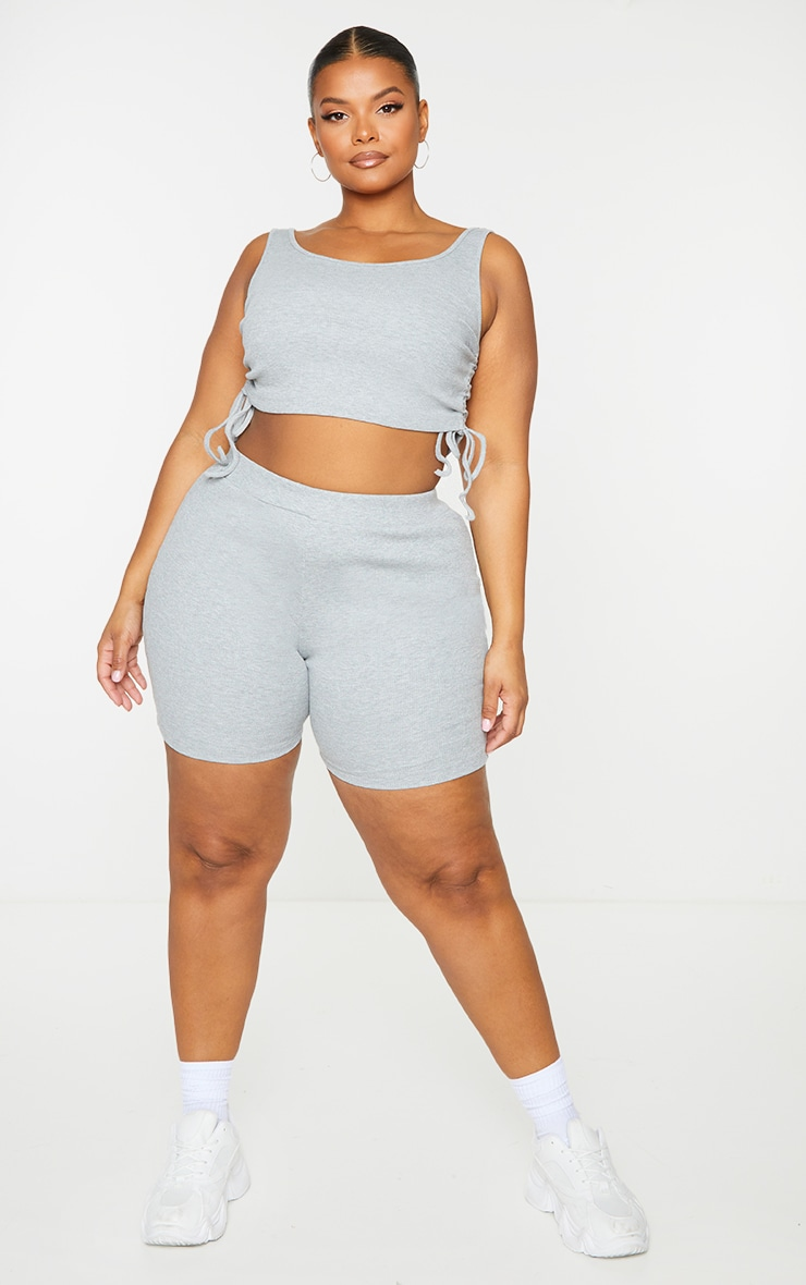 Plus Grey Rib Cycle Shorts 1