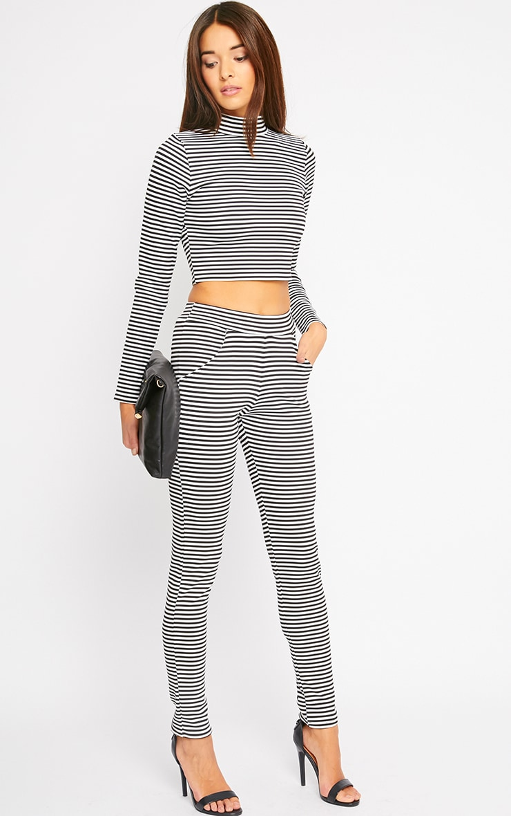 Allegra Monochrome Striped Cigarette Pants 1