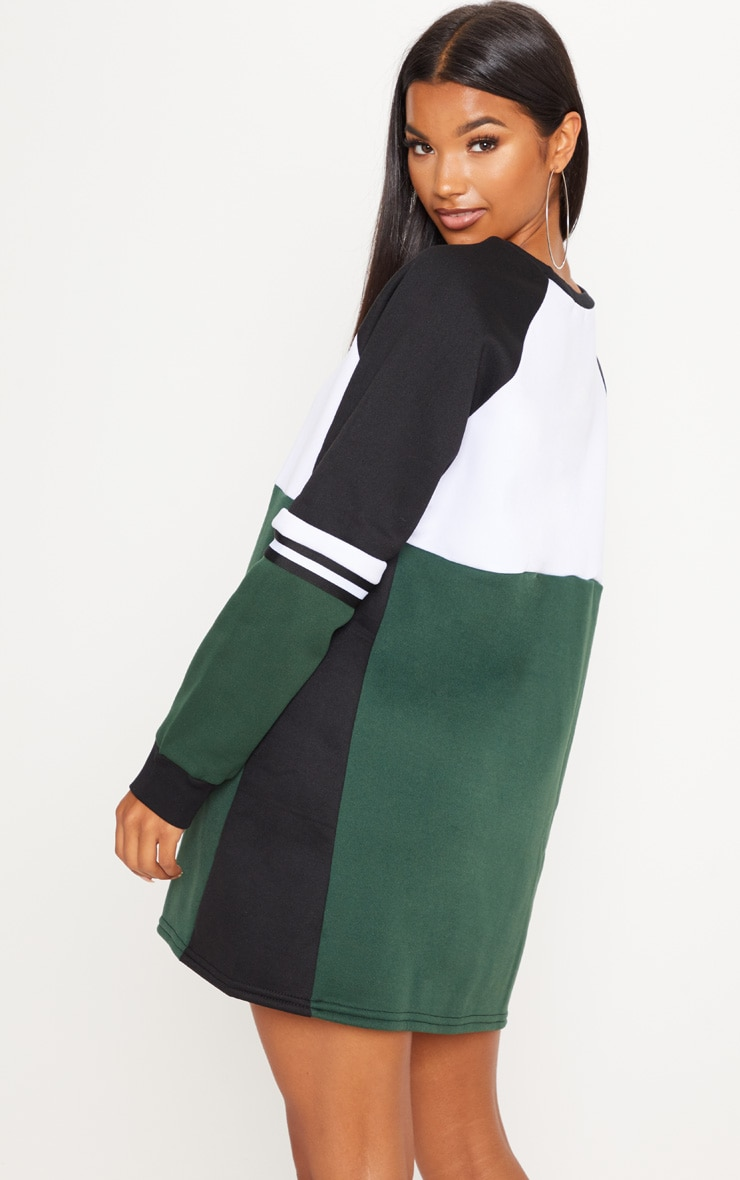 Green Colour Block Sweater Dress 2
