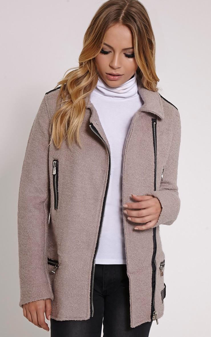 Keeva Mauve Faux Wool Biker Style Jacket 1