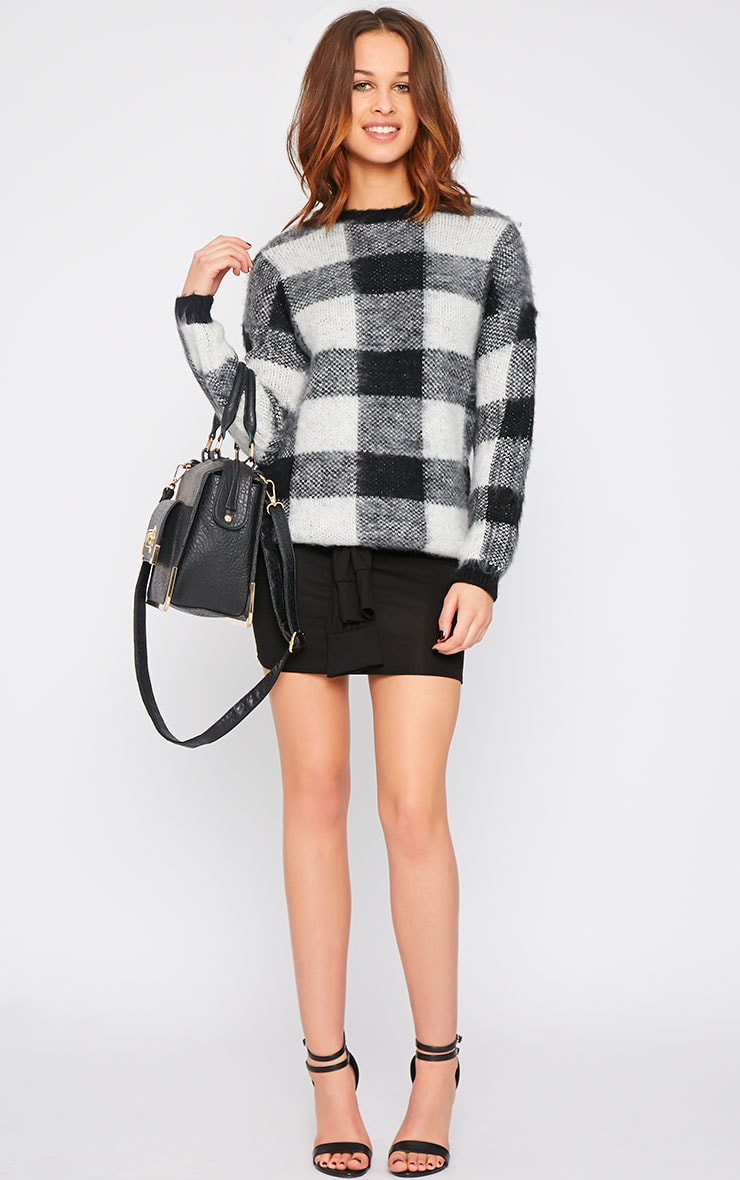 Poppy Black Checked Fluffy Jumper  3