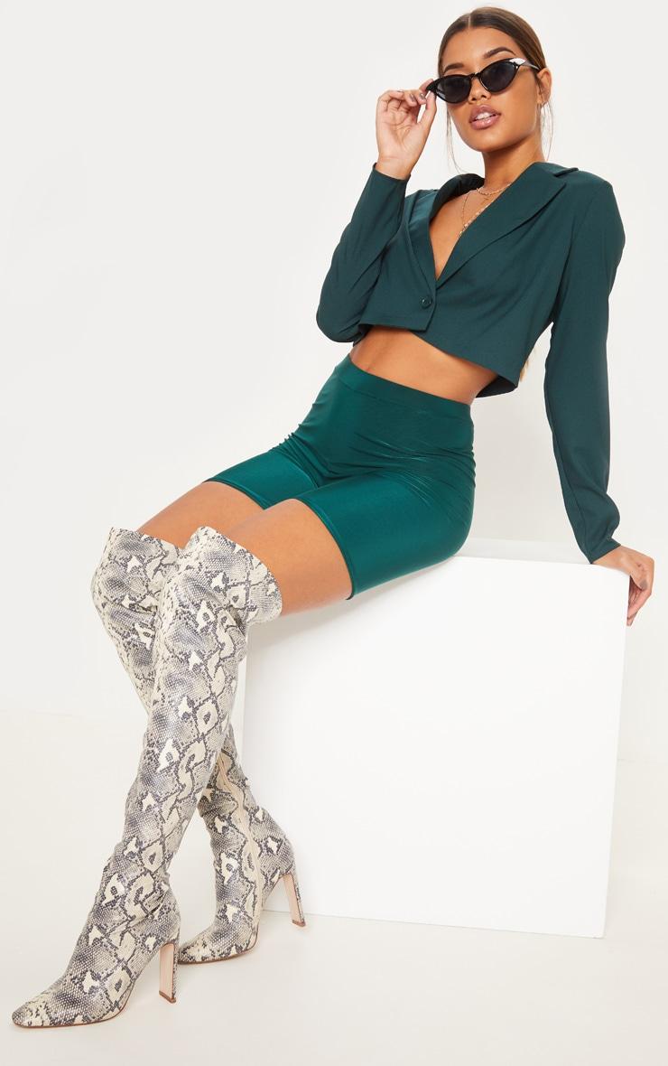 Emerald Green Cropped Blazer  1