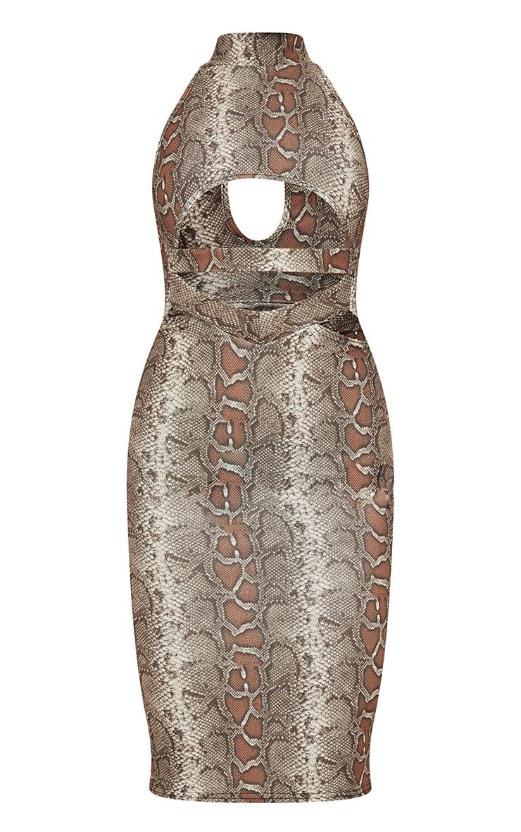 Brown Snake Print High Neck Cut Out Waist Midi Dress 5