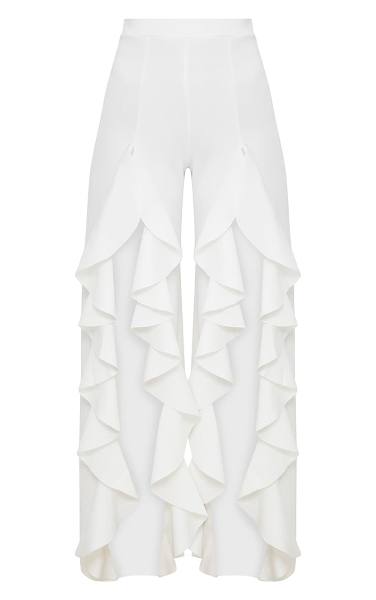 White Ruffle Front Wide Leg Pants  3