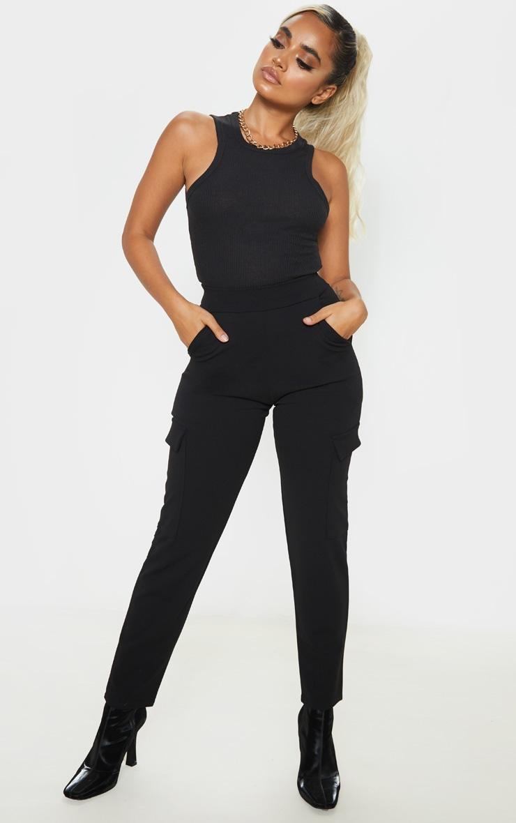 Petite - Pantalon en crêpe noir style cargo 1