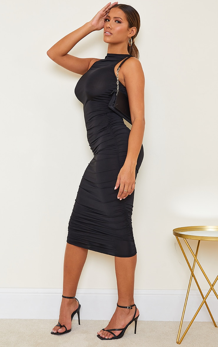 Shape Black Slinky Ruched Sleeveless Midi Dress 3