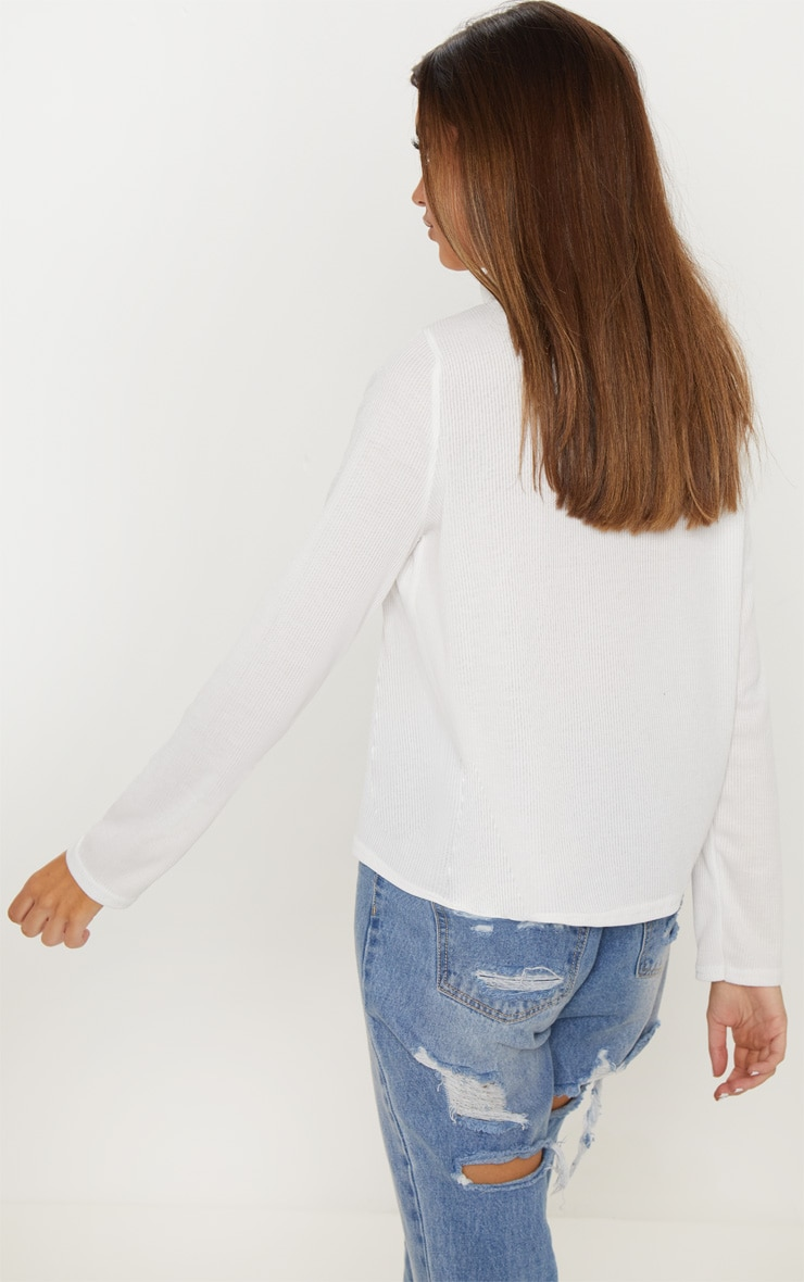 Cream High Roll Neck Rib Long Sleeve Top 2