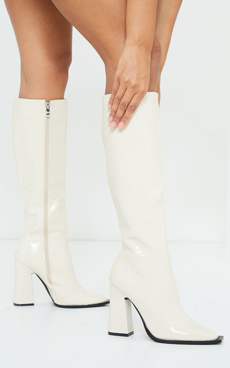 White Croc High Block Heel Toe Edge Knee Boot 1
