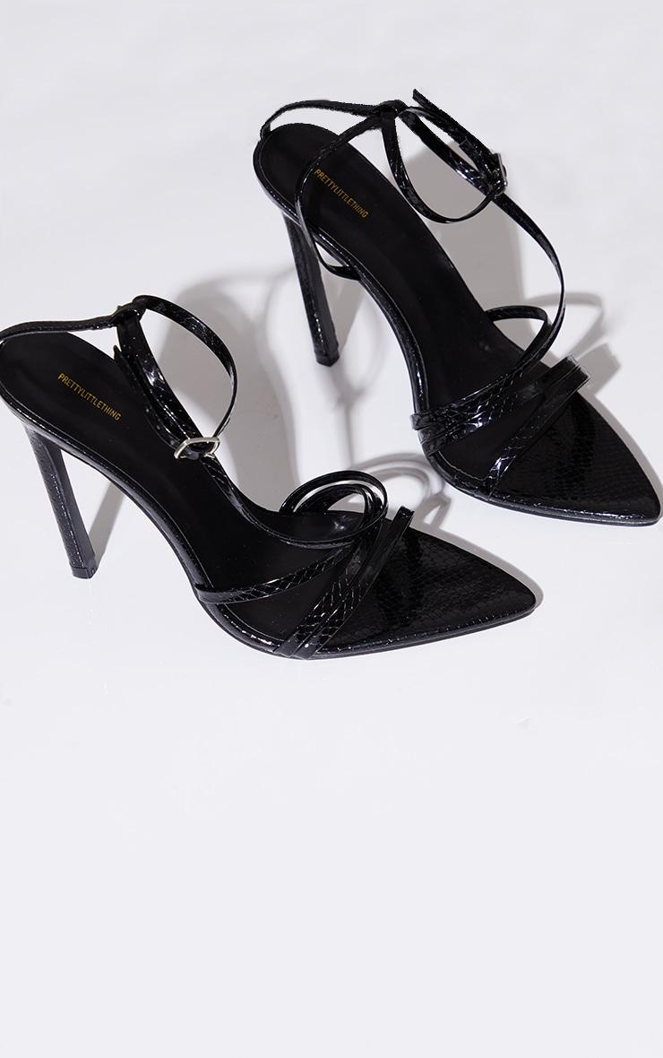 Black Patent Snake Pu Point Toe Strappy Stiletto Heel Sandals 3