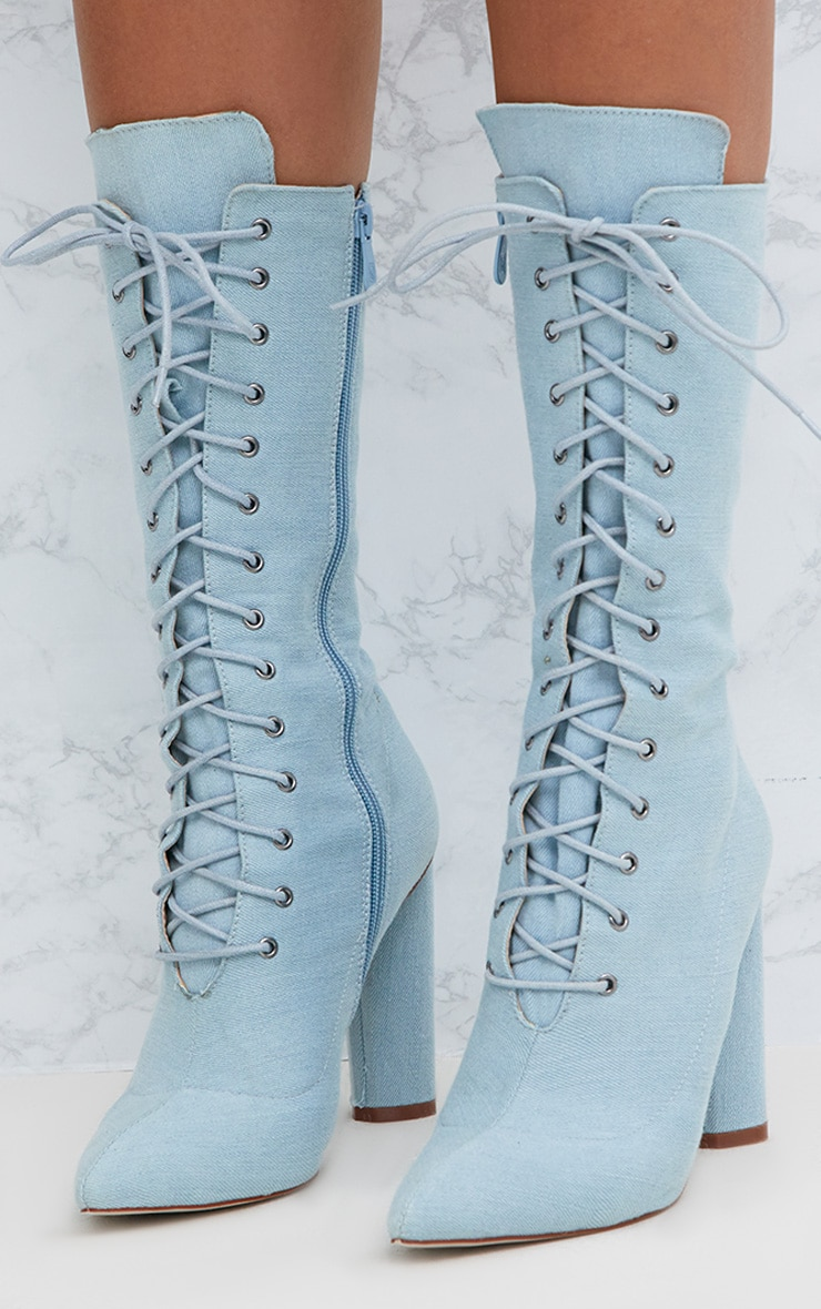 Blue Denim Lace Up Pointed Heeled Boots 2