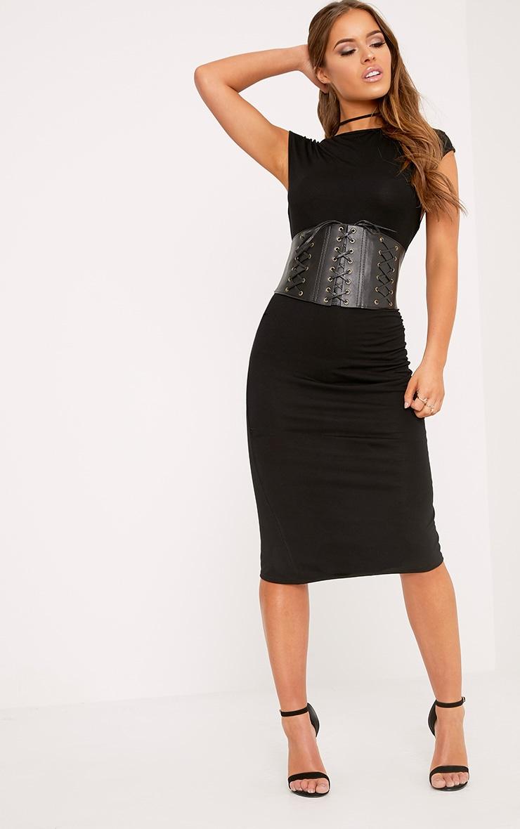 Petite Ayn Black Aysmmetric Drape Midi Dress 4