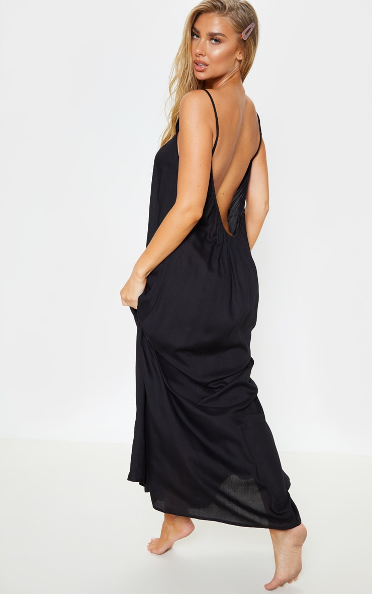 Black Low Back Oversized Maxi Beach Dress 1
