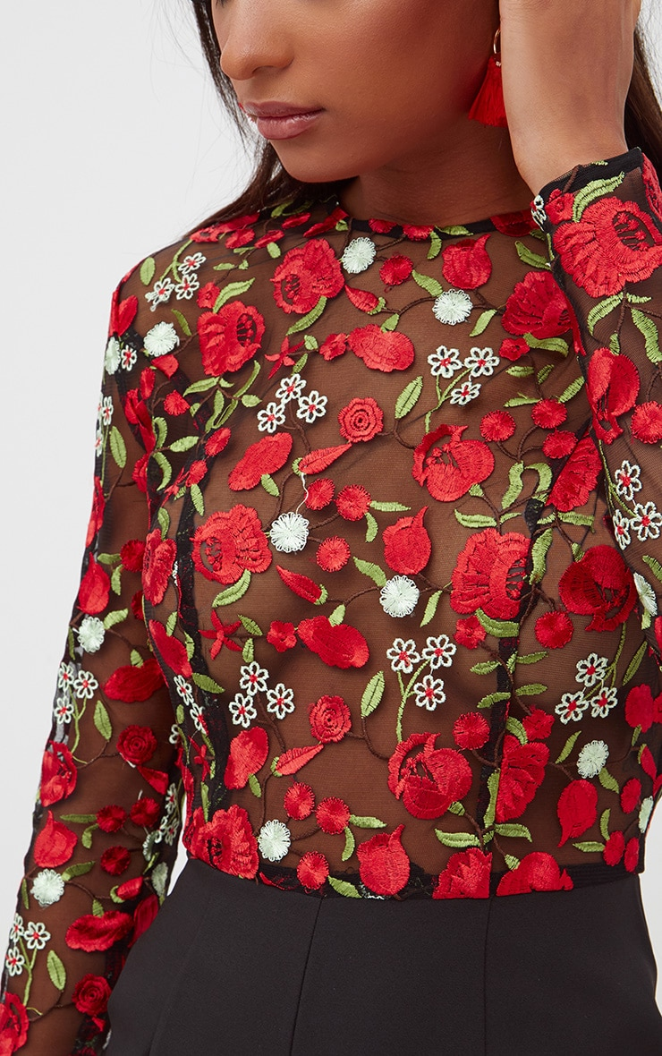 Red Long Sleeve Embroidered Playsuit 5
