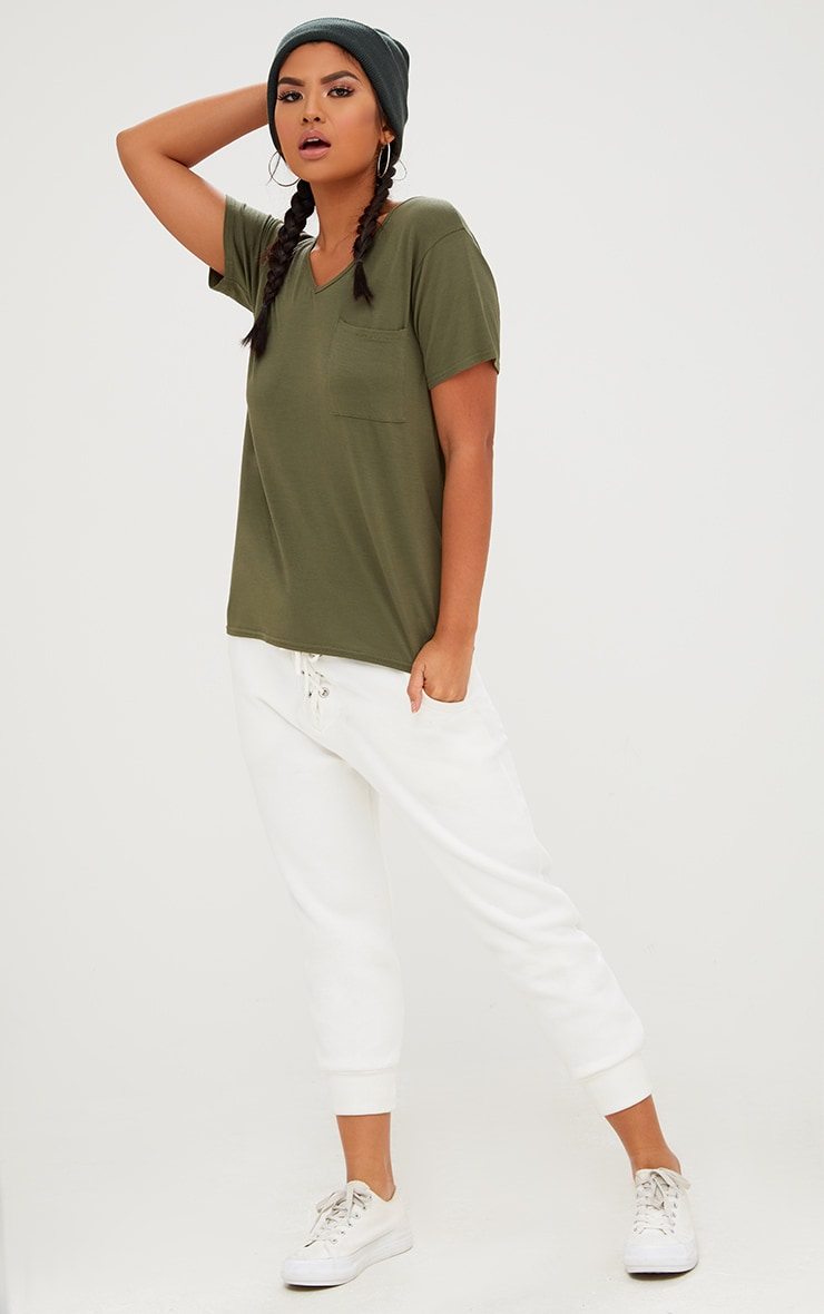 Khaki Basic V Neck Pocket T Shirt 4